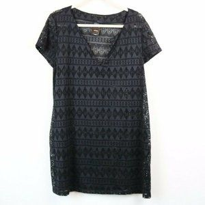 Catalina Womens Dress Swim Cover Up Cut Outs Black